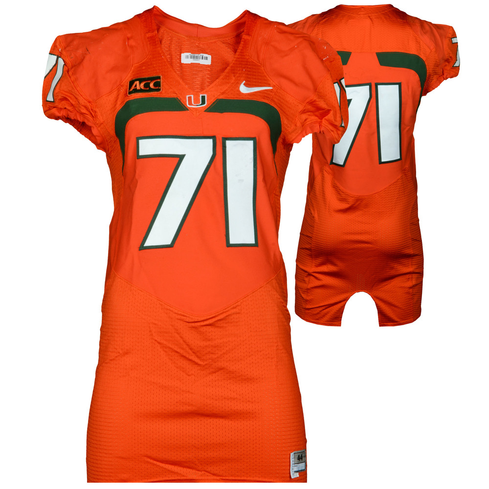 Miami Hurricanes Game-Used 2007 - 2013 Nike Orange Football Jersey #71