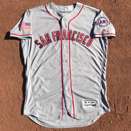 Photo of San Francisco Giants - 2017 Game-Used Jersey - #17 Jose Alguacil - 4th of July Stars & Stripes Jersey - Worn 7/1/17, 7/2/17, & 7/4/17 - Jersey Size 46