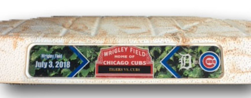 Photo of Game-Used 2nd Base -- Innings 1 through 4 -- Tigers vs. Cubs -- 7/3/18