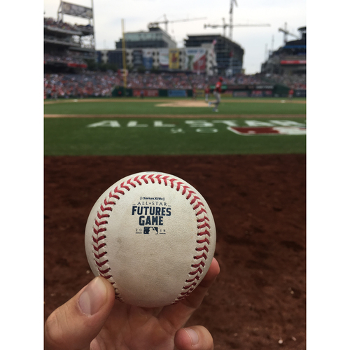 Photo of 2018 MLB Futures Game - Game-Used Baseball: Pitcher: Hunter Greene, Batter: Jesus Sanchez - Double Play, Top 4th.