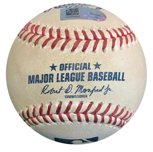 Photo of Game-Used Baseball from Pirates vs. Marlins on 9/7/18 - Starlin Castro Single