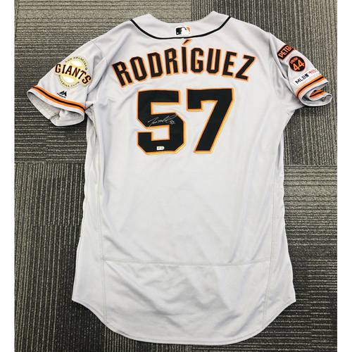 Photo of 2019 Team Issued Autographed Jersey - #57 Dereck Rodriguez - Size 46