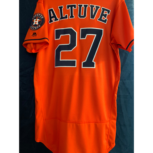 Photo of 2019 Game-Used Jose Altuve Orange Alt Jersey (Size 40)