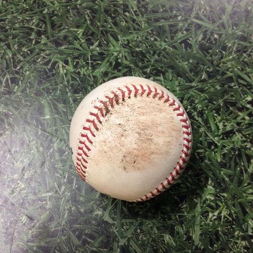 Photo of Game-Used Baseball SD@MIL 09/16/19 - Zach Davies - Luis Urias: Foul