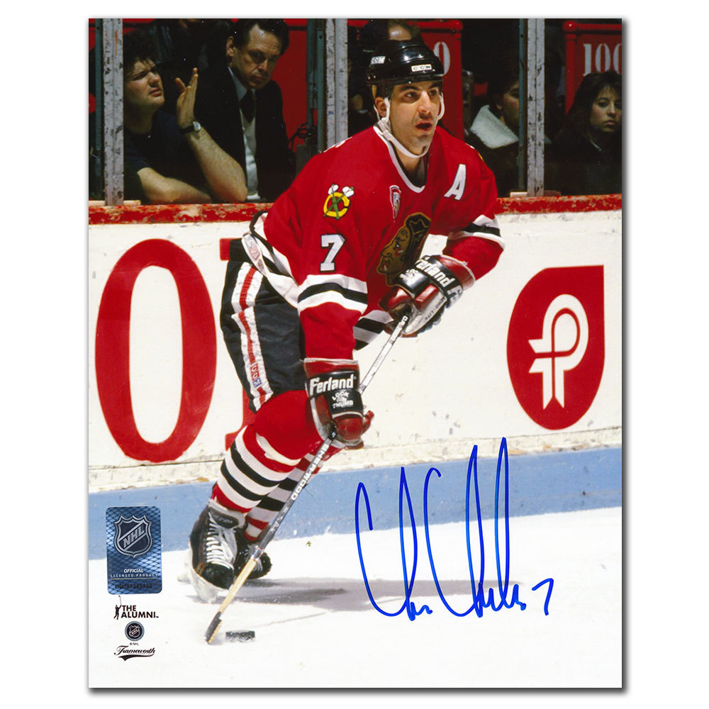 Chris Chelios Chicago Blackhawks ACTION Autographed 8x10