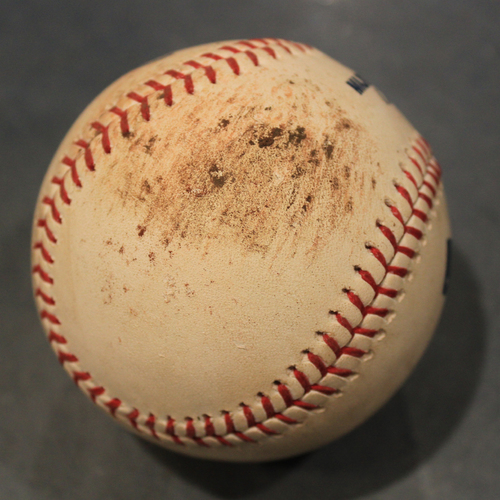 Photo of Game-Used Baseball: Jake Newberry Pitched Strikeout to Marcell Ozuna (STL @ KC - 8/13/19)