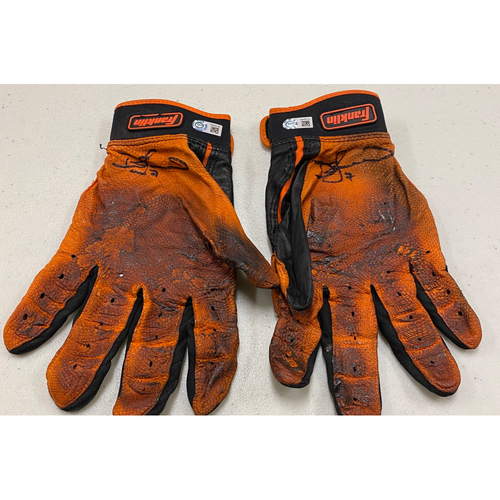 Photo of 2020 Cyber Monday Sale - #7 Donovan Solano Autographed Black & Orange Franklin Batting Gloves