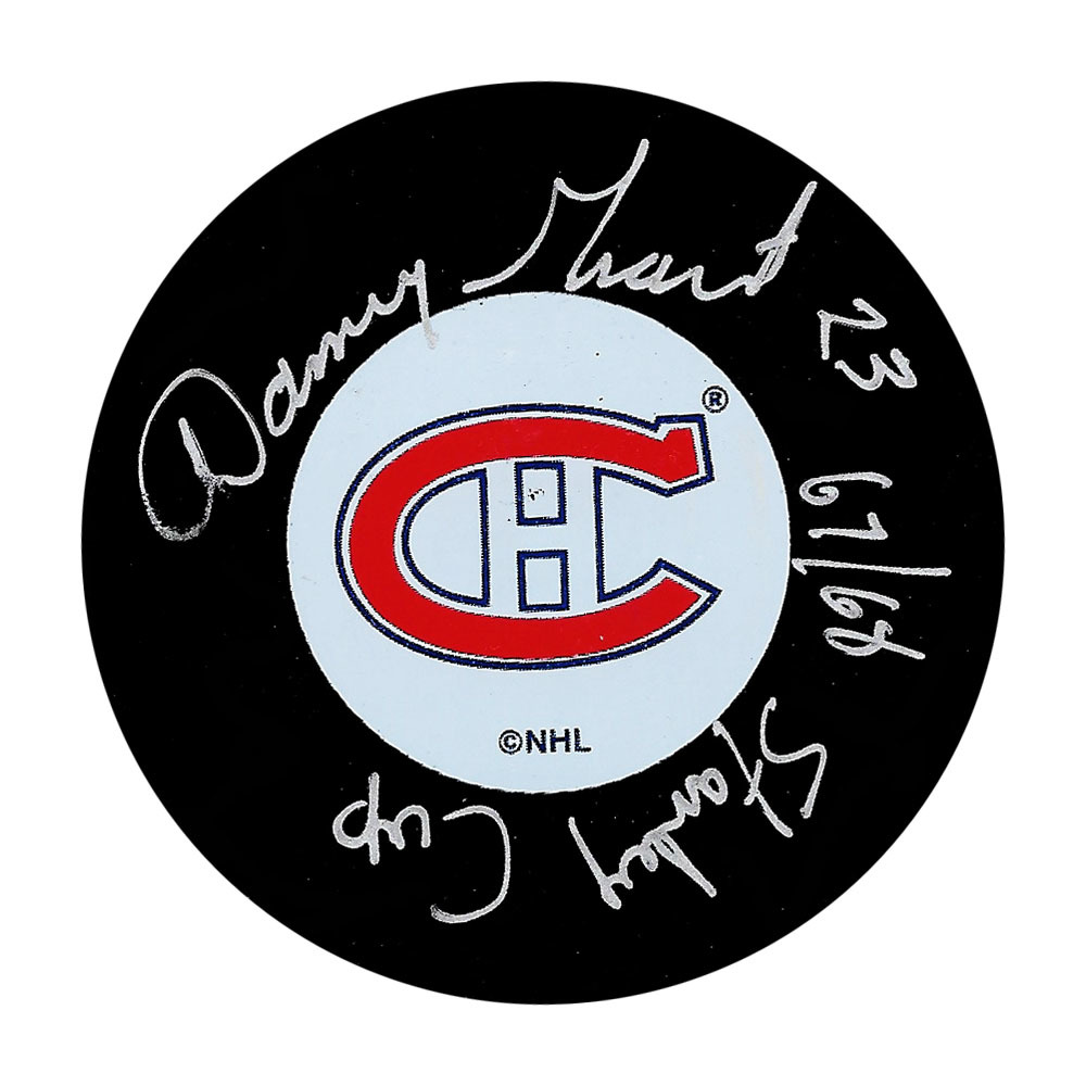 Danny Gran Autographed Montreal Canadiens Puck w/68 STANLEY CUP Inscription