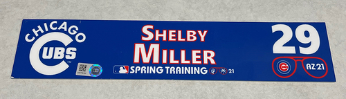 Photo of Shelby Miller 2021 Spring Training Locker Nameplate