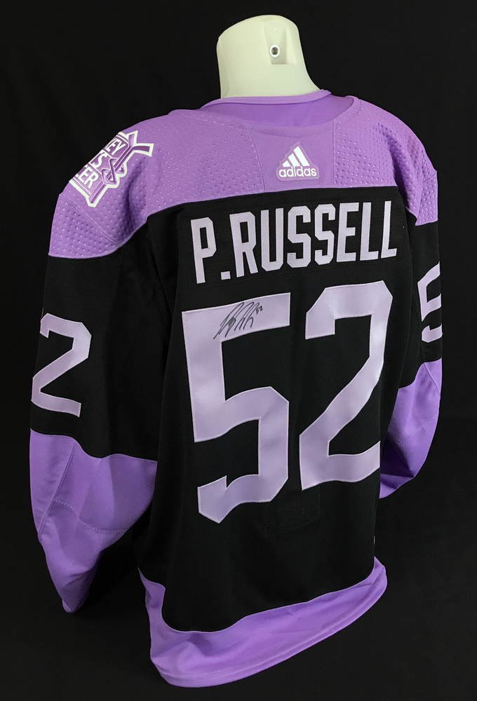 Patrick Russell #52 - Autographed 2020-21 Edmonton Oilers Pre-game Warm-Up Worn Hockey Fights Cancer Jersey