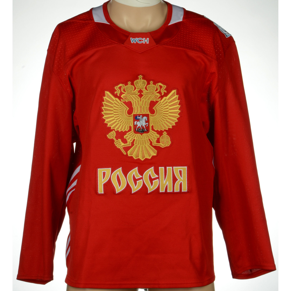 Team Russia Practice-Used Red World Cup Of Hockey 2016 Jersey - Size 58