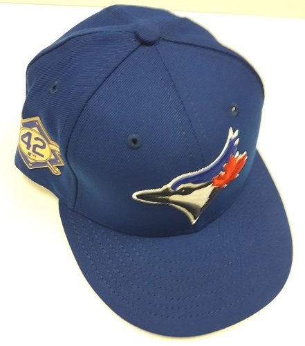 Photo of CHARITY AUCTION: Authenticated Game Used #42 Cap - Josue Peley (May 3, 2018). Size 7 1/4