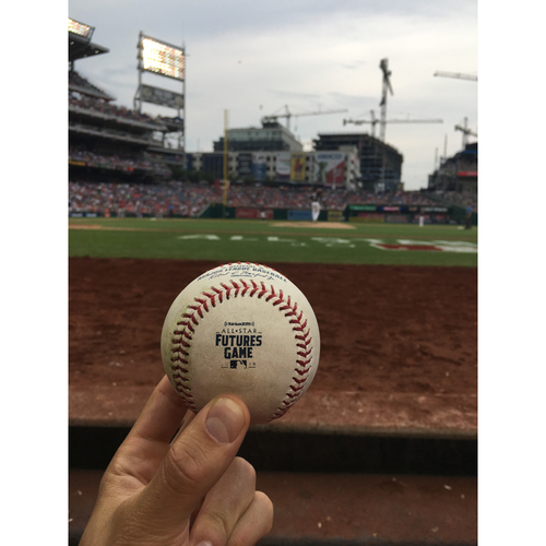 Photo of 2018 MLB Futures Game - Game-Used Baseball: Pitcher: Matt Manning, Batter: Fernando Tatis Jr. - Single to RF, Bottom 5th.