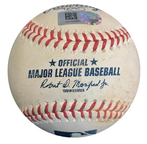 Photo of Game-Used Baseball from Pirates vs. Marlins on 9/8/18 - Lewis Brinson Foul