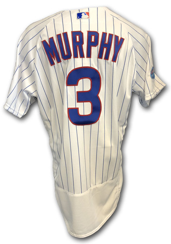 Photo of Daniel Murphy Game-Used Jersey -- Rockies vs. Cubs -- 10/2/18 -- 2018 Postseason Wild Card