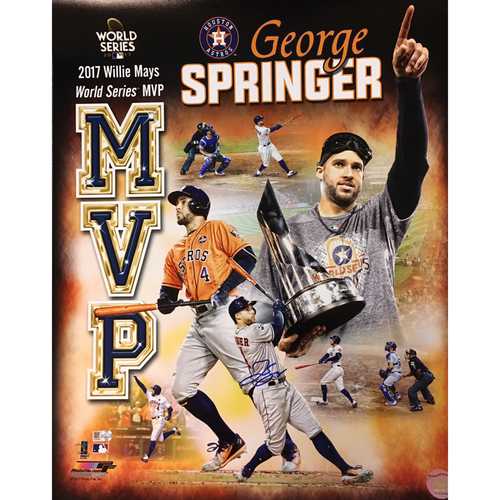 Photo of George Springer Autographed 16x20 Photo - MVP Collage