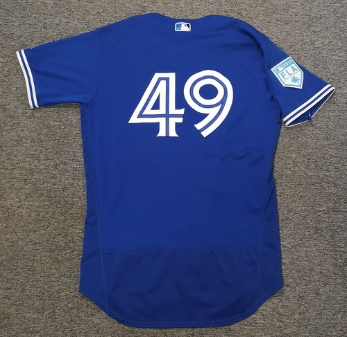 Photo of Authenticated Game Used 2019 Spring Training Jersey - #49 Mark Leiter (Mar 17). Size 46