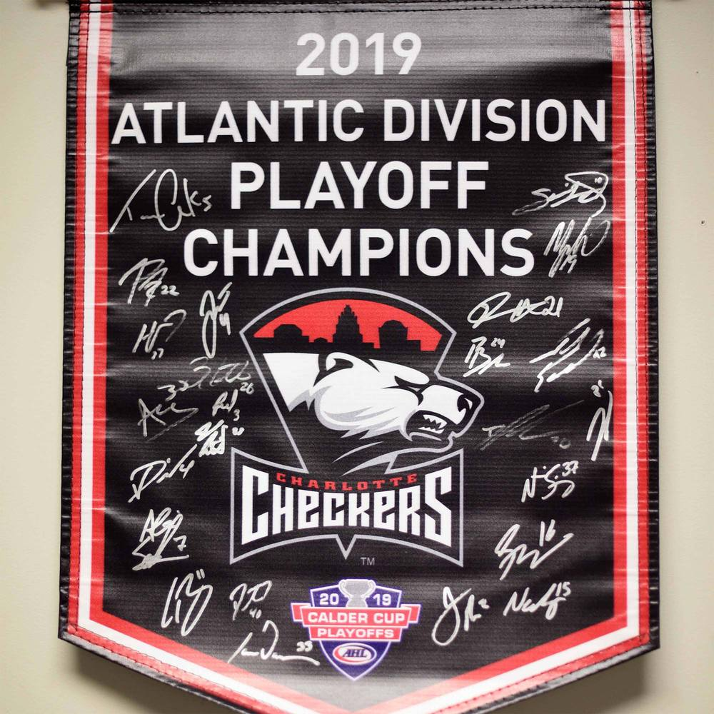 2019 Atlantic Division Champions Charlotte Checkers Team-Signed Banner