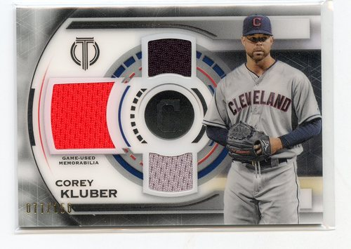 Photo of 2019 Topps Tribute Triple Relics #TTRCK Corey Kluber 077/150