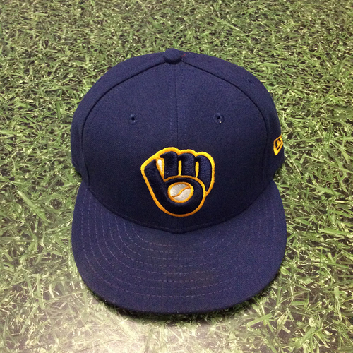 Photo of Ryan Braun 2019 Game-Used Navy Ball&Glove Cap