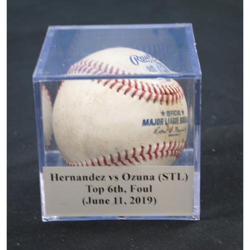 Photo of Game-Used Baseball: Elieser Hernandez vs Marcell Ozuna (STL), Top 6th, Foul (June 11, 2019)