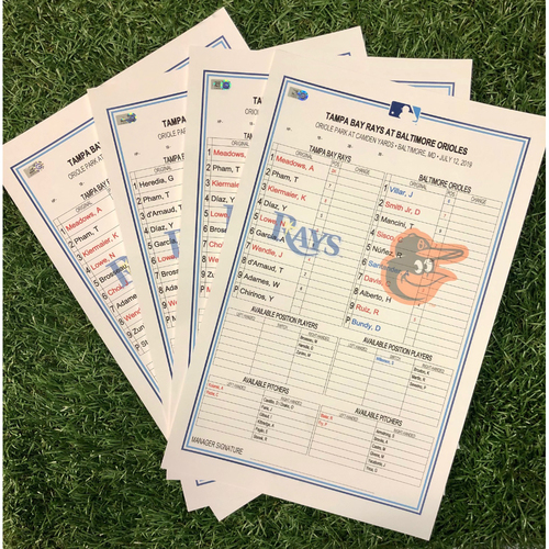 Photo of Replica Lineup Card Package: July 12-14, 2019 at BAL - Ian Giabut MLB Debut