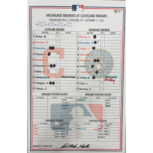 Photo of Game Used Lineup Card- 9/11/2021 Brewers at Indians- Milwaukee Brewers pitchers, Corbin Burnes and Josh Hader pitch no hitter against the Indians.