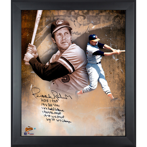 "Photo of Brooks Robinson Baltimore Orioles Framed Autographed 20"" x 24"" In Focus Photograph with Multiple Inscriptions-#24 of a L. E. of 24"