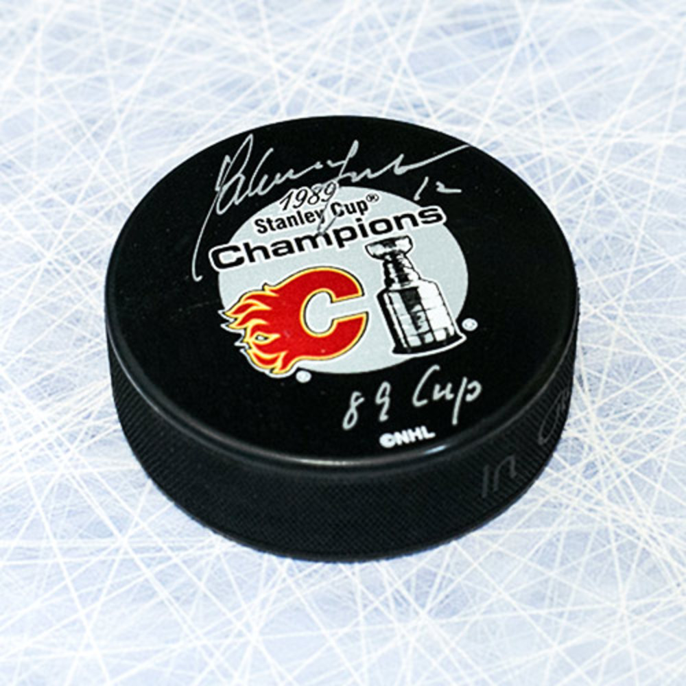 Hakan Loob Calgary Flames Autographed & Inscribed 1989 Stanley Cup Puck
