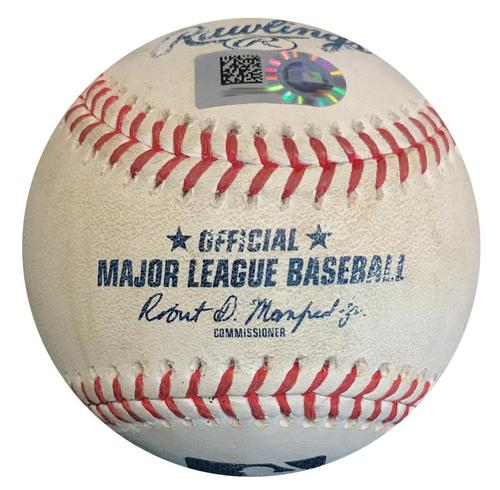 Photo of Game-Used Baseball from Pirates vs. Marlins on 9/8/18 - Chen to Osuna, Foul