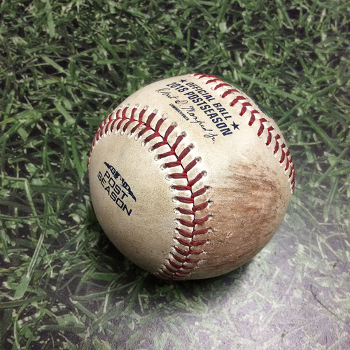 Photo of Game-Used Baseball NLCS Game 1 LAD@MIL 10/12/18 - Clayton Kershaw - Lorenzo Cain: Strike