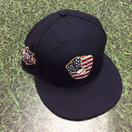 Photo of Eric Thames 2018 Game-Used Stars & Stripes Cap
