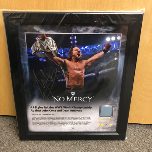 AJ Styles SIGNED No Mercy 2016 Signature Series Ring Canvas Plaque (#3 of 10)