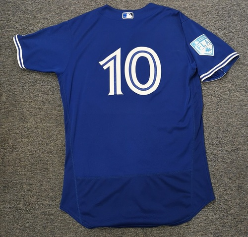 Photo of Authenticated Game Used 2019 Spring Training Jersey - #10 Reese McGuire (Mar 18: 0-for-1). Size 46