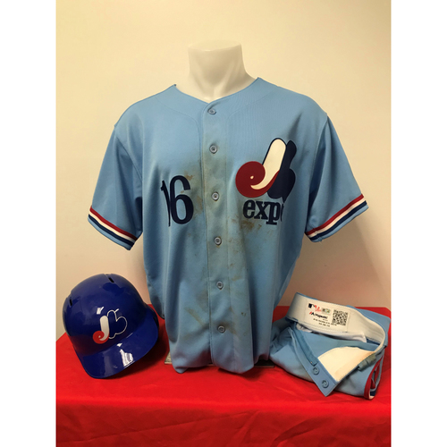 Photo of Victor Robles Expos Gear: Game-Used Jersey, Game-Used Pants, and Game-Used Batting Helmet