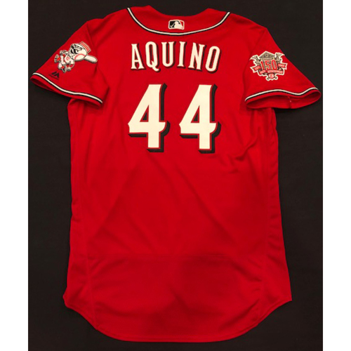"Photo of Aristides Aquino -- Game-Used ""Los Rojos"" Jersey (Starting RF: Went 1-for-5, 2B, RBI) -- D-backs vs. Reds on 9/6/19 -- Jersey Size 46"