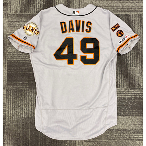 Photo of 2019 Game Used Road Alt Jersey worn by #49 Jaylin Davis on 9/22 @ ATL - Size 46