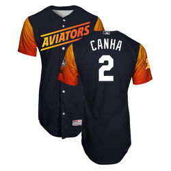 Photo of Mark Canha #2 Las Vegas Aviators 2019 Home Alternate Jersey