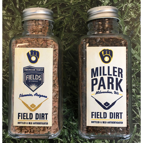 Photo of Game-Used Bottled Dirt - Regular Season (Miller Park) & Spring Training (American Family Fields of Phoenix)