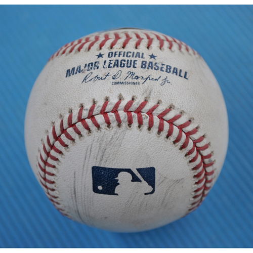 Photo of Game-Used Baseball - 2020 NLCS - Atlanta Braves vs. Los Angeles Dodgers - Game 7 - Pitcher: Julio Urias, Batter: Freddie Freeman (Foul) - Top 8