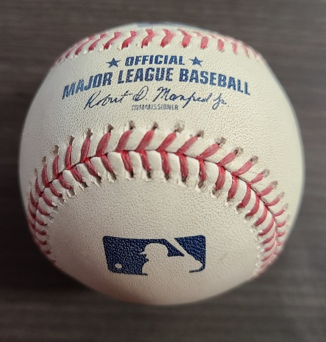 Photo of Authenticated Game Used Baseball: Foul by Jonathan Villar against Jordan Montgomery (Sep 24, 2020 vs NYY). Bottom 3. Game played in Buffalo. Blue Jays Clinched Postseason Berth in Game.