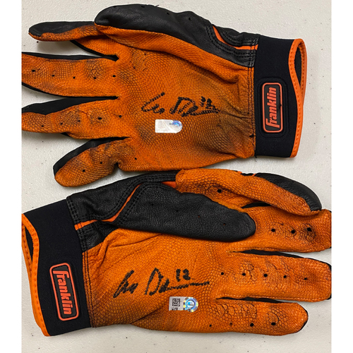 Photo of 2020 Cyber Monday Sale - #12 Alex Dickerson Autographed Black & Orange Franklin Batting Gloves