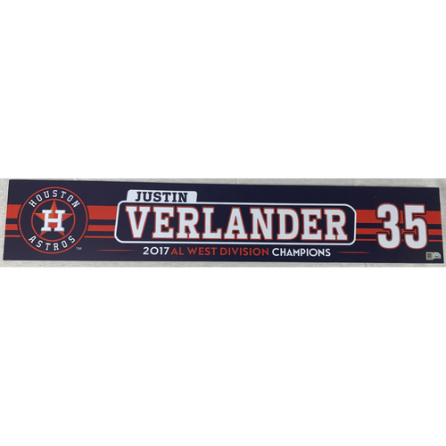 Photo of Justin Verlander 2017 Game-Used Locker Name Plate - ALDS and ALCS Game 1's
