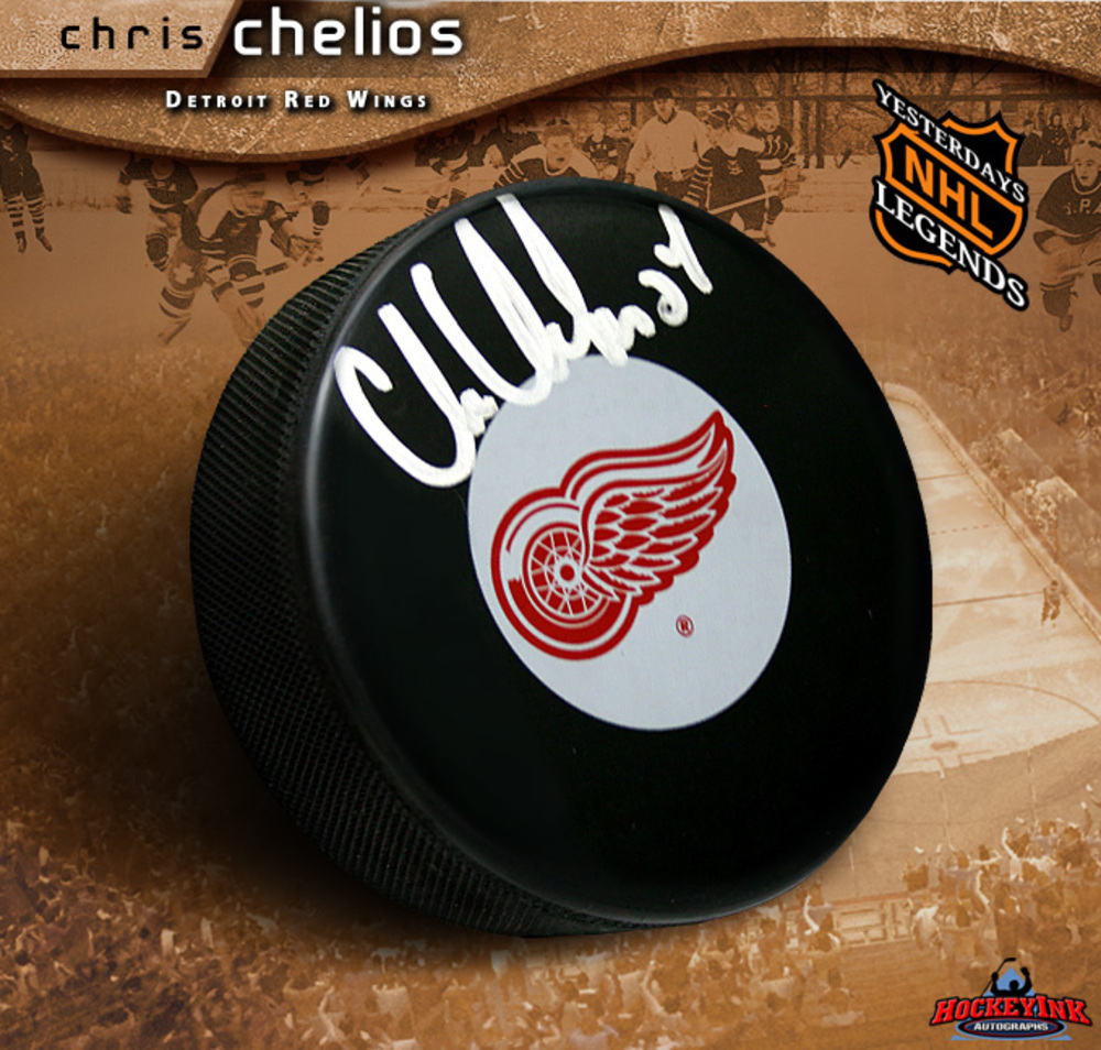 CHRIS CHELIOS Signed Detroit Red Wings Puck