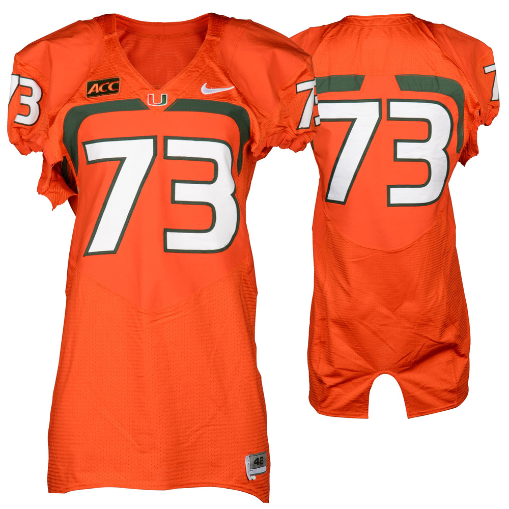 Miami Hurricanes Game-Used 2007 - 2013 Nike Orange Football Jersey #73
