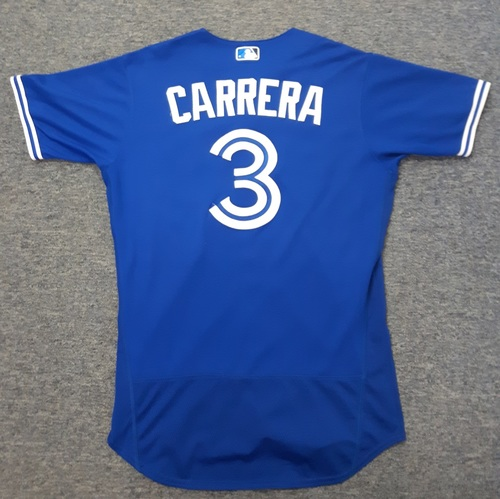 Authenticated Game Used Jersey - #3 Ezequiel Carrera - April 3, 2017 (Opening Day) - 2-for-3 with 1 Double and 1 RBI. Size 44.