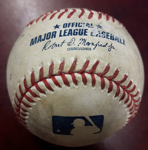 Photo of Authenticated Game Used Baseball - April 3, 2018 vs Chicago White Sox: Double by Luke Maile against Miguel Gonzalez (Bottom 3)