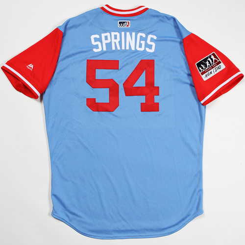 "Photo of Jeffrey ""Springs"" Springs Texas Rangers Game-Used 2018 Players' Weekend Jersey"