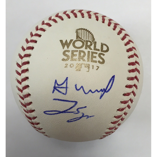 Photo of Jose Altuve & George Springer Autographed 2017 World Series Logo Baseball