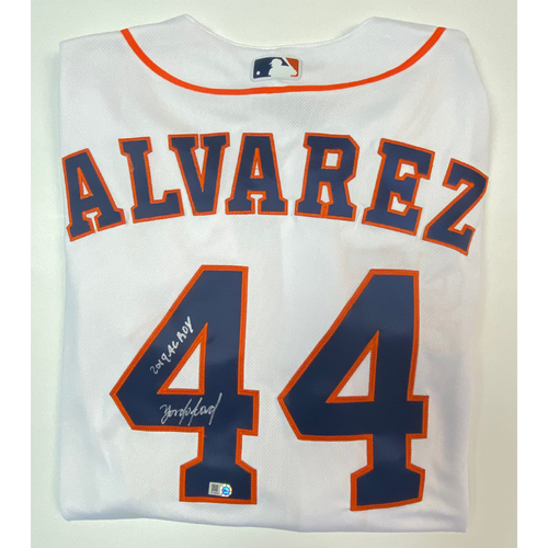 "Photo of Yordan Alvarez Autographed ""2019 AL ROY"" White Authentic Jersey"